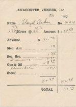 Image of Anacortes Veneer paystub, 6/1940