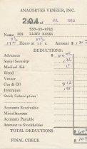 Image of Anacortes Veneer paystub, 7/1940