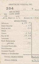 Image of Anacortes Veneer paystub, 8/1940