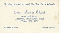 Image of Evans Funeral Chapel business card