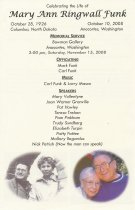 Image of Mary Ann Ringwall Funk memorial program