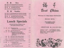 Image of Menu from Best China Restaurant (outside)