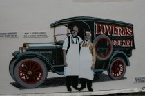 Image of Mural of Paul and Nicola Luvera with delivery truck