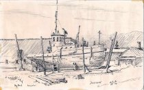 Image of Ink drawing of GOVERNOR in drydock