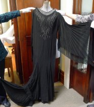 Image of Black evening dress with rhinestones