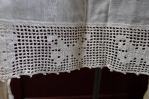 Image of Fine linen apron with crocheted trim
