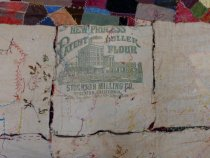 Image of 1883 crazy quilt flour sack