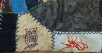 Image of 1883 crazy quilt top detail