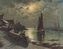 Image of print of harbor at night
