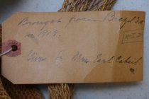 Image of Tag on natural fiber tote bag from Brazil, 1918