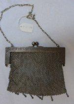 Image of Silver mesh bag, floral engraving