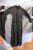 Image of Black cotton and lace dress, back
