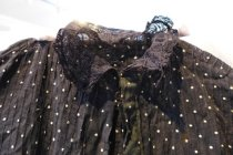 Image of Black cotton and lace dress, collar detail