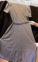 Image of Blue-gray lace dress, back