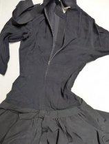 Image of Black drop-waist dress back
