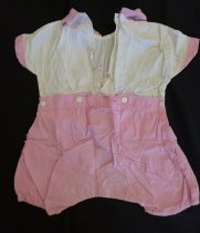 Image of Pink and white girl's romper suit