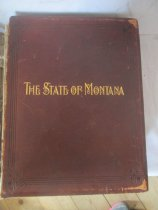 """Image of Paper, ink; brown leather bound; titled """"The State of Montana"""", an illustrated history """"by Joaquin Miller"""" - Book"""