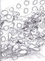 Image of Drawing from sketchbook dated Sept. 1999-Sept. 2000, black pen and ink sketches                                                                                                                                                                                - Herbert Creecy Papers