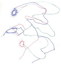 Image of Drawing from sketchbook dated April 22 2002, color pen and ink sketches                                                                                                                                                                                    - Herbert Creecy Papers