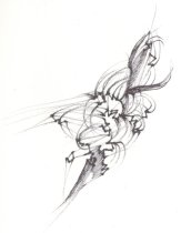 Image of Drawing from sketchbook dated January 2 1996, black pen and ink floral sketches - Herbert Creecy Papers