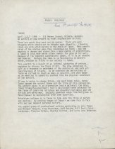 Image of Press Release from first exhibition
