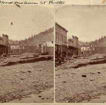 """Image of """"Pioneer Office to Court House  Sherman St.  Flood 1883"""" - 1883"""