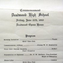 Image of Program - Commencement Program, Deadwood High School, 1919
