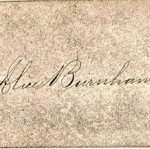 Image of Alice Burnham's Calling Card - 1890-1925