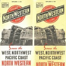 """Image of Timetable - """"Chicago and NorthWestern Line""""/""""Serves the West, Northwest Pacific Coast"""""""