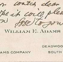 Image of Card, Trade - W.E. Adams' business card