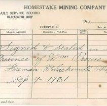 Image of Record, Personnel - HMC Daily Service Record-Blacksmith Shop