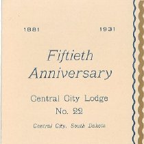 Image of Program - Fiftieth Anniversary Program, Central City Lodge No. 22
