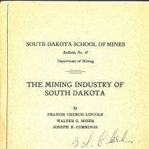 Image of Bulletin - The Mining Industry of South Dakota
