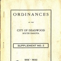 Image of Book - Ordinances of the City of Deadwood, Supplement No. 2