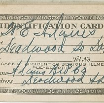 Image of Card, Identification - ID card for W.E. Adams