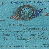 Image of Card, Membership - W.E. Adams' membership in B.P.O. Elks, Deadwood Lodge #508