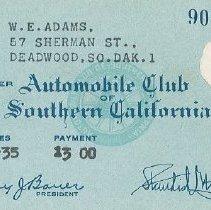 "Image of Card, Membership - W.E.'s membership in ""Automobile Club of Southern California"""