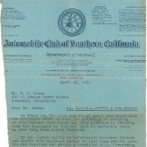 Image of Letter - Letter to W.E. Adams Regarding Auto Coverage