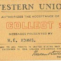 Image of Card, Commemorative - Western Union Card