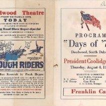 Image of Program - Days of '76 Program, 1927, President Coolidge Day
