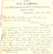 Image of Resignation Letter of Henry Robinson as Superintendent of Mount Moriah Cemetery, January 24, 1898 - January 24, 1898