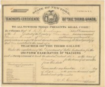 Image of State of New York Teacher's Certificate of the Third Grade for Angeline Russell of Moira, N.Y. - New York (State). Department of Public Instruction
