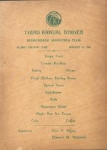 Image of 3rd Annual Dinner menu - Adirondack Mountain Club