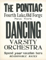 Image of The Pontiac, Fourth Lake, Old Forge, New York : dancing  varsity orchestra : spend your vacation here : reasonable rates - Pontiac (Old Forge, N.Y.)