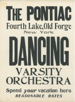 Image of The Pontiac, Fourth Lake, Old Forge, New York : New York's Dancing Varsity Orchestra - Pontiac (Old Forge, N.Y.)