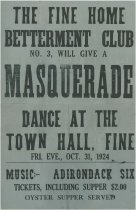Image of The Fine Home Betterment Club No. 3, Will Give a Masquerade Dance at the Town Hall, Fine, Fri. Eve, Oct. 31, 1923 - Fine Home Betterment Club No. 3