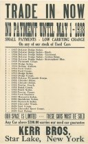Image of Trade In Now : No Payments until May 1, 1938 - Kerr Bros.