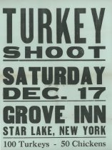 Image of Turkey Shoot, Saturday Dec. 17, Grove Inn, Star Lake, New York -