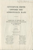 Image of Governor Smith Opposes the Adirondack Raid / Committee to Prevent the Exploitation of the Adirondacks - Committee to Prevent the Exploitation of the Adirondacks (N.Y.)