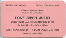Image of [Lone Birch motel business card with rates] - Lone Birch Motel (Indian Lake, N.Y.)